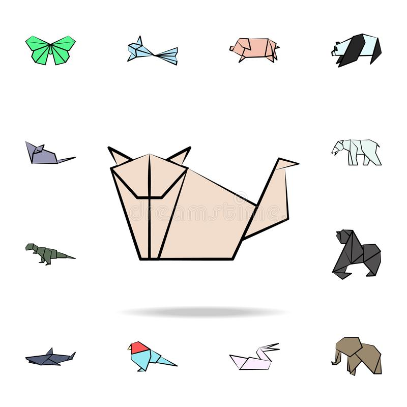 Dog colored origami icon. Detailed set of origami animal in hand drawn style icons. Premium graphic design. One of the collection. Icons for websites, web stock illustration