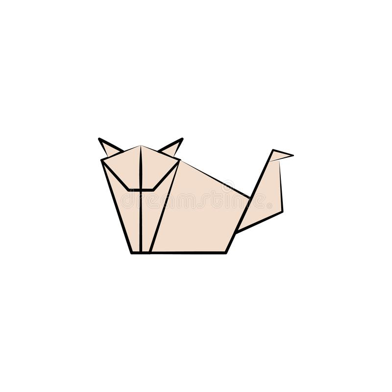 dog colored origami style icon. Element of animals icon. Made of paper in origami technique vector Illustration dog icon can be us stock illustration