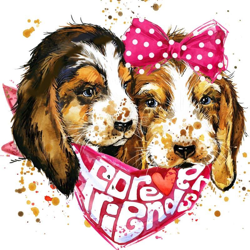 Dog companion T-shirt graphics. stock illustration