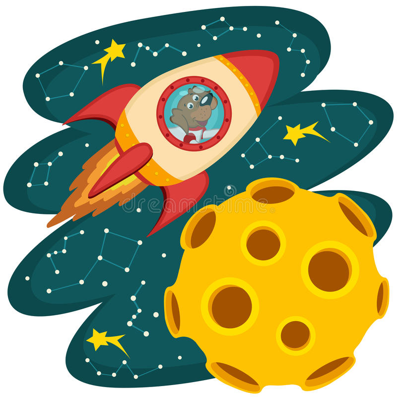 Dog cosmonaut flying on a rocket to the moon stock illustration