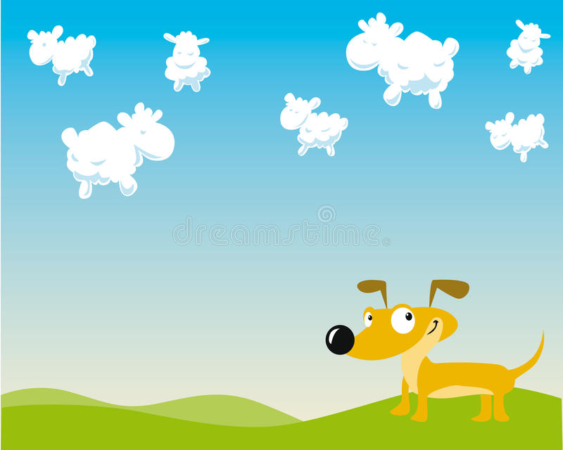 Dog is counting sheep royalty free illustration