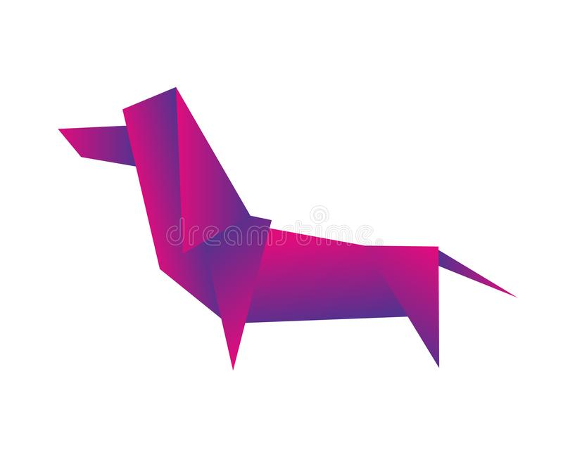 Dog dachshund animal geometric vector origami on white background. Dog dachshund animal geometric vector origami royalty free illustration