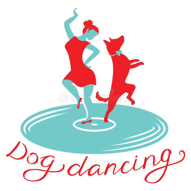 Dog dancing icon. Girl with dog dance on vynil record. Heelwork. Dog dancing icon. Girl with dog dance on vinyl record. Heelwork to music logotype. Mascot for stock illustration