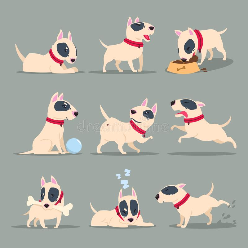 Dog in day activity. Funny cartoon puppy daily routine. Cute dog pet animal vector character set royalty free illustration