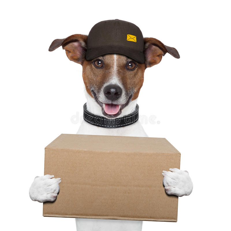 Dog delivery post. Box brown