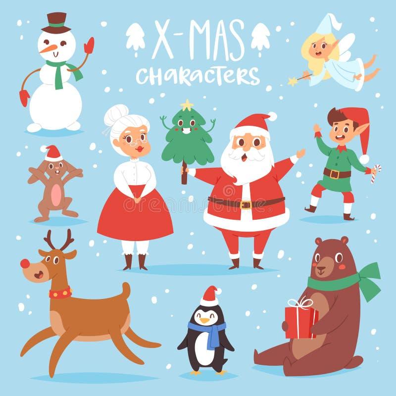 Dog den gulliga tecknade filmen Santa Claus, snögubben, renen, Xmas-björnen, jultomtenfru för julvektortecken, symbolet för det n stock illustrationer