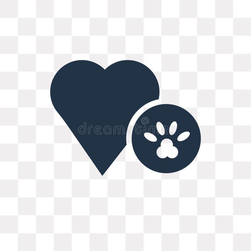 Dog den Pawprint vektorsymbolen som isoleras på genomskinlig bakgrund, hund vektor illustrationer