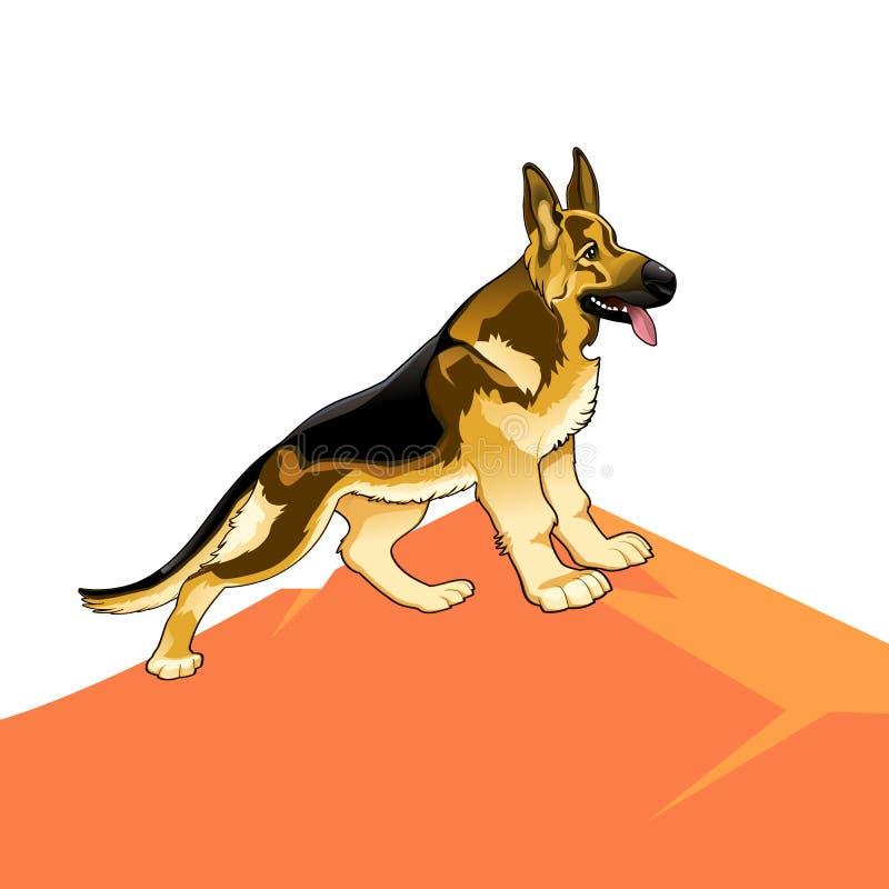 Dog den rasrena tyska herden på en kulle, tecknad film på en vit stock illustrationer