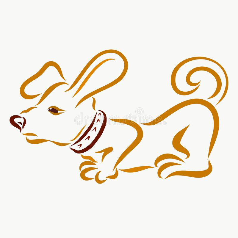 Dog detective sniffs, funny and lazy.  vector illustration