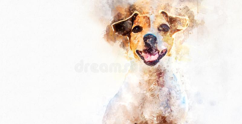 Dog. Digital watercolor painting of Jack Russell Terrier dog royalty free illustration