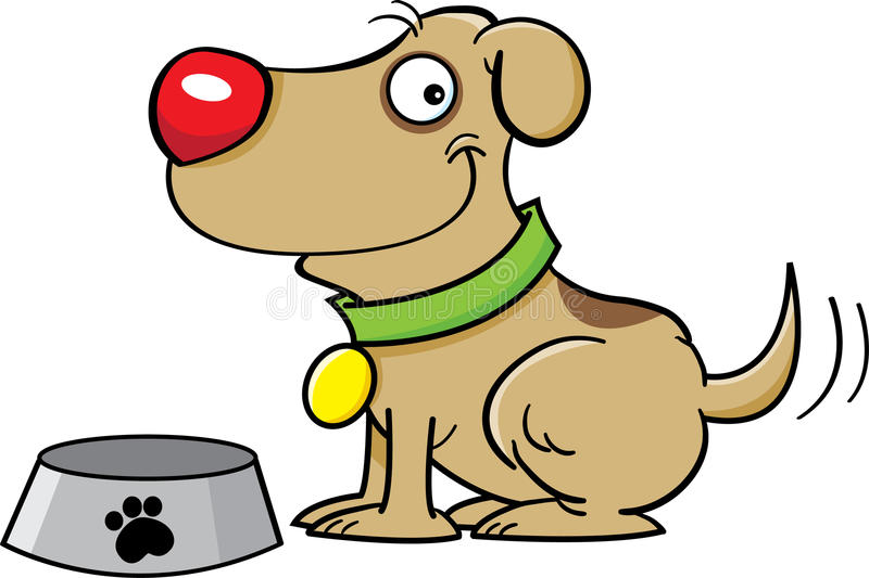 Download Dog with a dog dish stock vector. Illustration of funny - 25881182