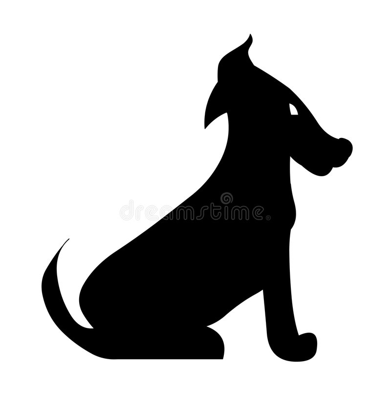Dog doggie silhouette. On white background royalty free illustration