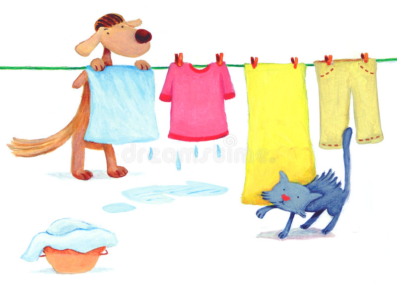 Dog doing laundry. Dog is doing laundry while a cat is sneaking up stock illustration