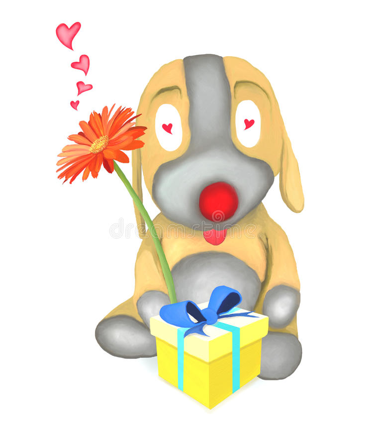 Download Dog Doll Holding Flower And Gift Box Stock Illustration - Image: 25784977