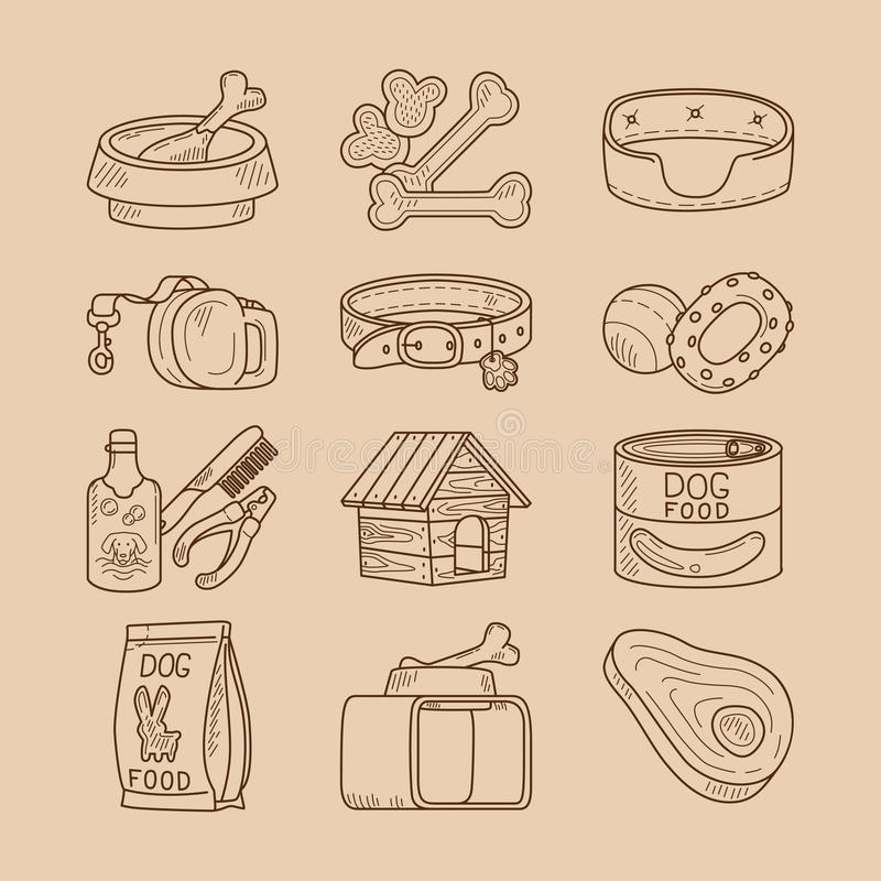 Dog doodle signs food and toys royalty free illustration