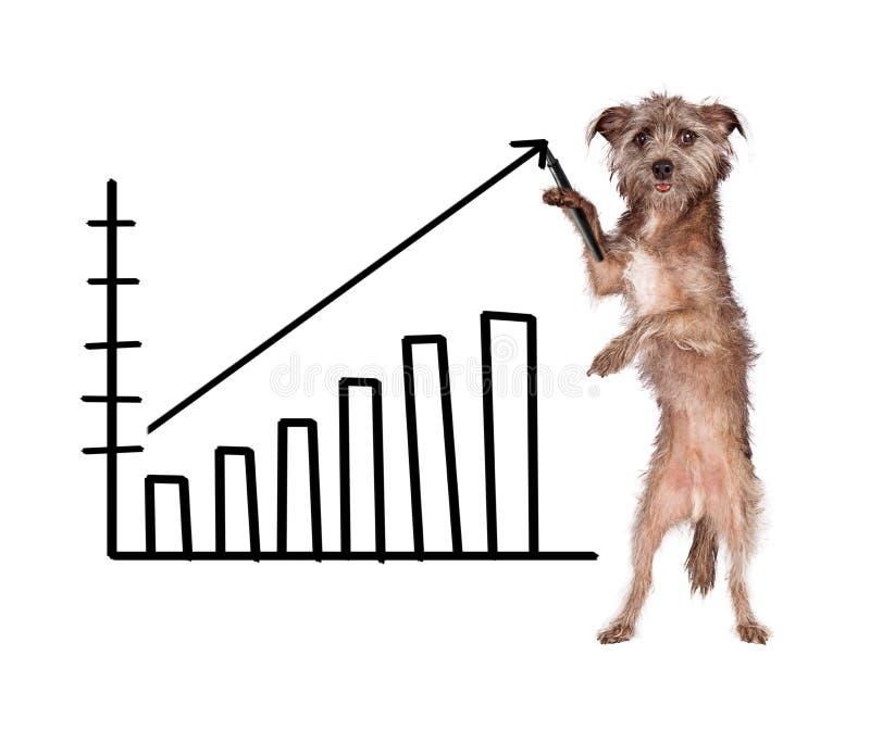 Dog Drawing Increasing Sales Chart. Funny image of a dog drawing a bar chart showing increasing in sales royalty free stock photo