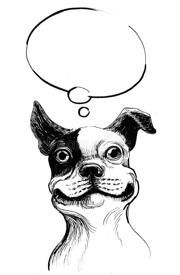 Dog is dreaming. Ink illustration of a dreaming bull dog royalty free illustration