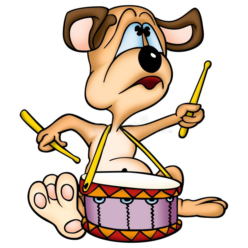 Dog drummer stock illustration