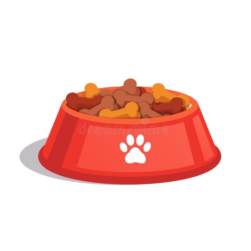 Dog dry food bowl. Bone shaped crisps. Flat style vector illustration isolated on white background