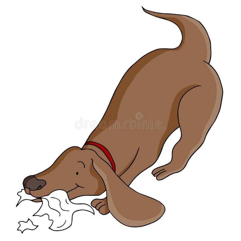 Dog Eating Paper royalty free illustration