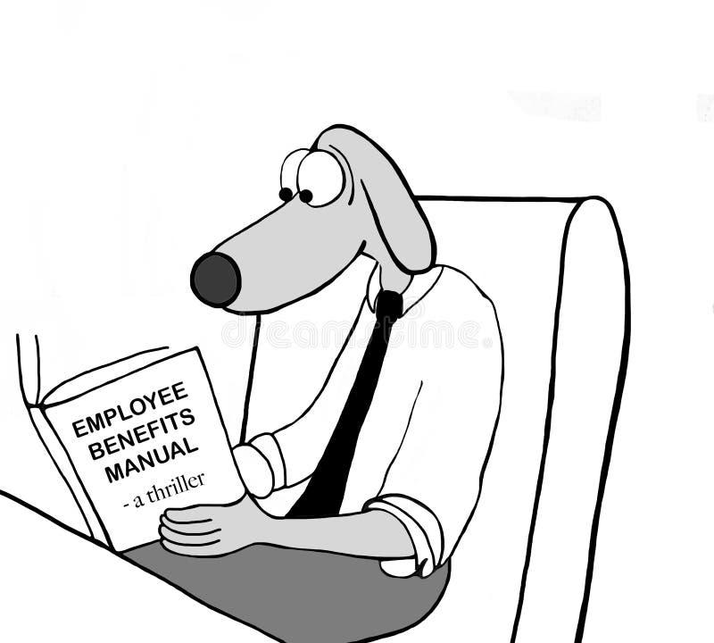 Dog employee reads benefits manual royalty free stock photos