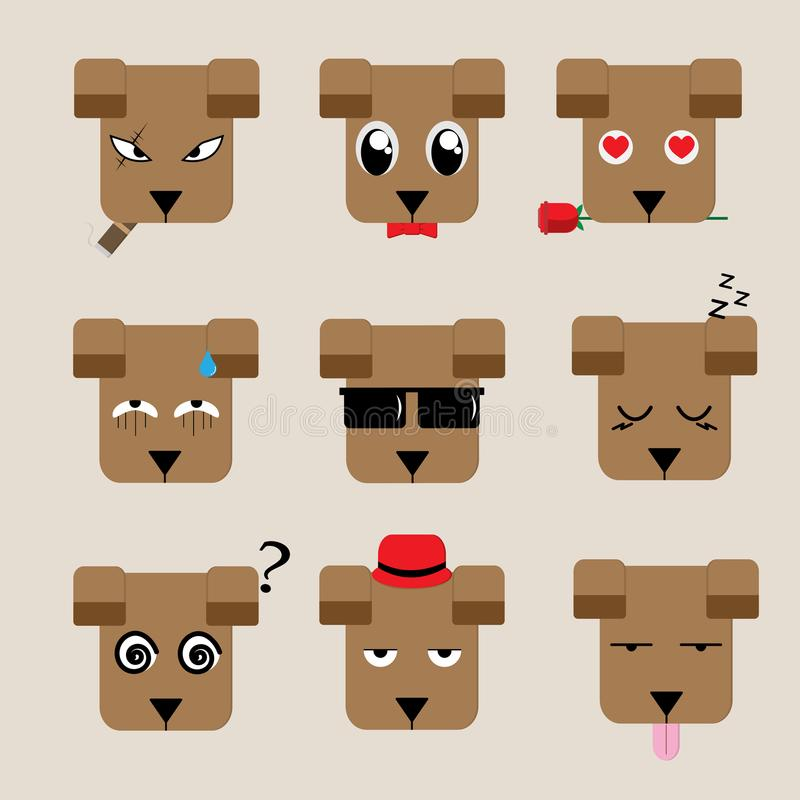 Dog face with 9 charactor design, and illustration. Set of dog face with nine charactor design style, and illustration stock illustration