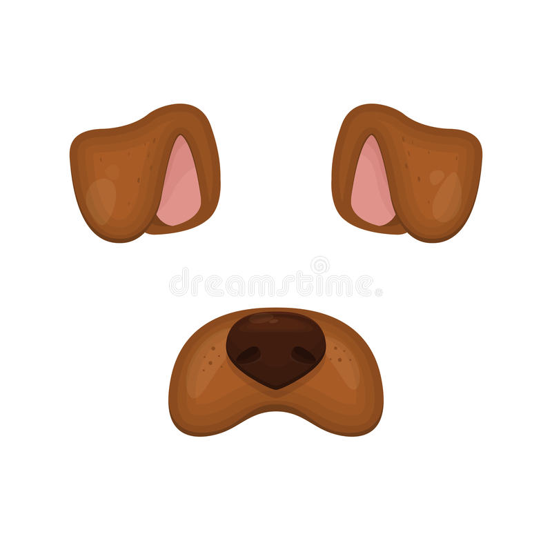 Dog face elements. Vector illustration. Animal character ears and nose. For selfie photo decoration. Cartoon brown Dog mask. Isola. Ted on white. Easy to edit vector illustration