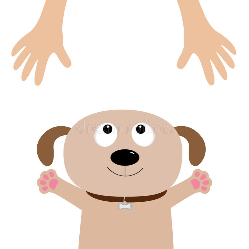 Free Dog Face. Pet Adoption. Puppy Pooch Looking Up To Human Hand, Paw Print Hug. Flat Design. Help Homeless Animal Concept. Cute Carto Royalty Free Stock Photos - 93608868