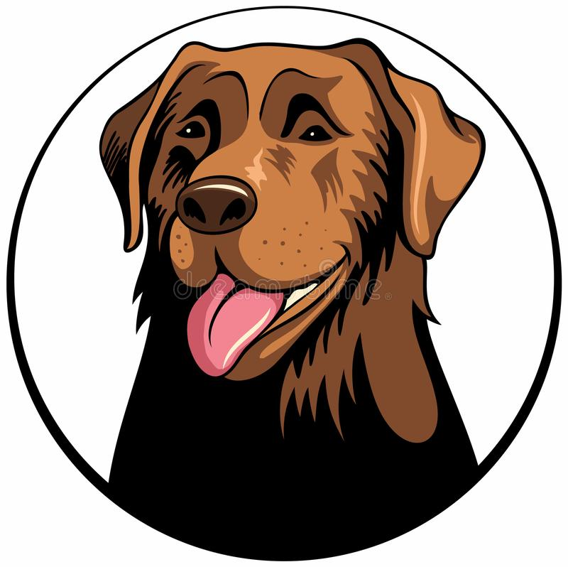 Dog face portrait cartoon illustration. Cute friendly dog smiling with tongue out. Dog vector logo. stock illustration