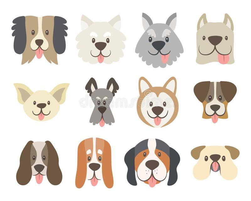 Collection of cute dog faces stock illustration