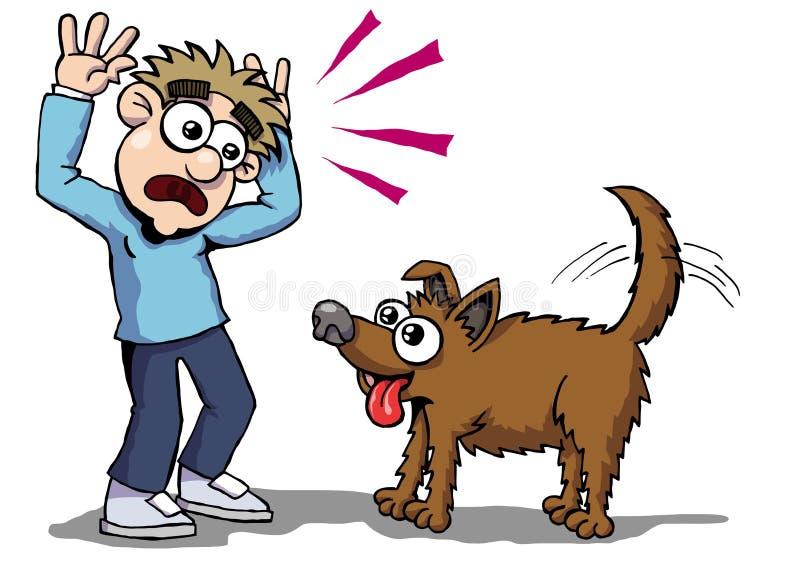 Dog fear. Cartoon guy fear to dog vector illustration