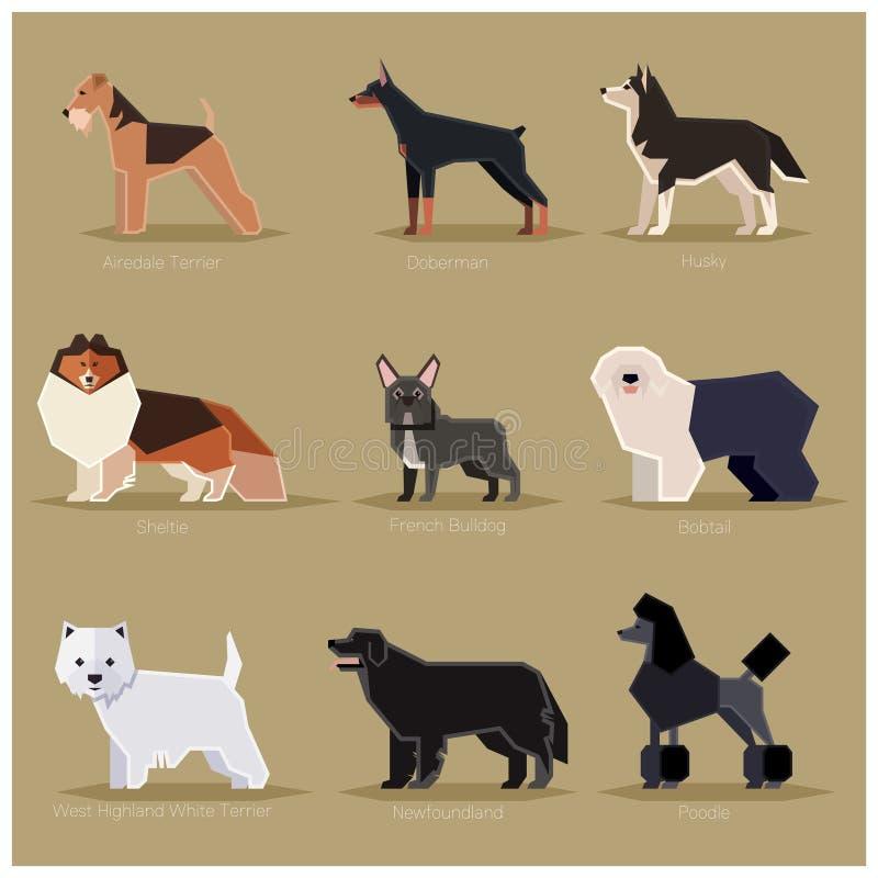 Dog flat icons set. Vector image of the set of dogs flat icons royalty free illustration