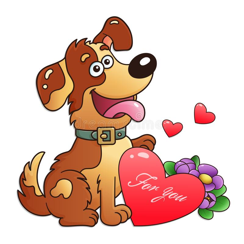 Dog with flowers and heart isolated on white background. Greeting card. Birthday. Valentine`s day. For kids.  royalty free illustration