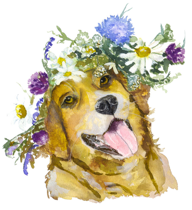 Dog with flowers. stock illustration. Illustration of breed - 67265139