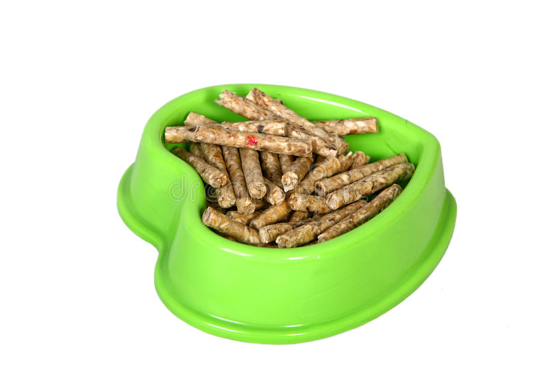Dog food. A green bowl full of dry food for dog stock images