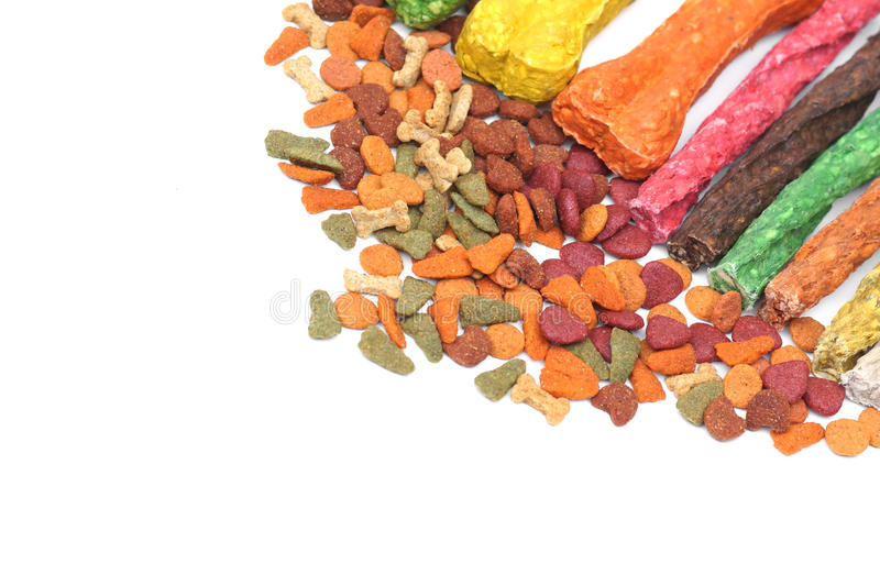 Dog food. Different types of dog food isolated royalty free stock image