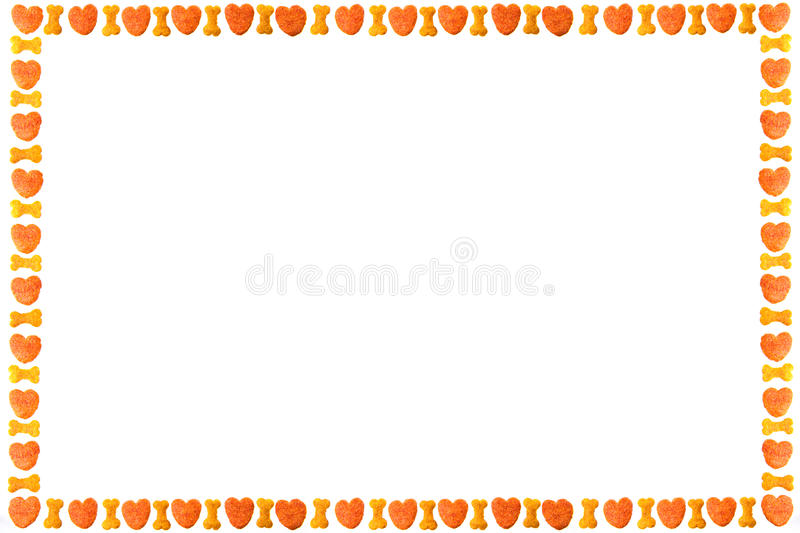 Dog food frame or border on white background,cookies with copy stock images