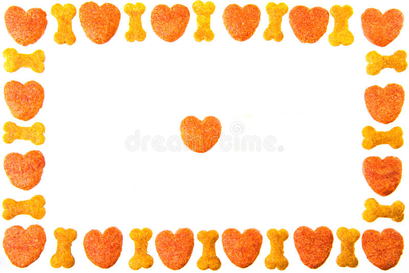 Dog food frame or border on white background,cookies with copy stock photo