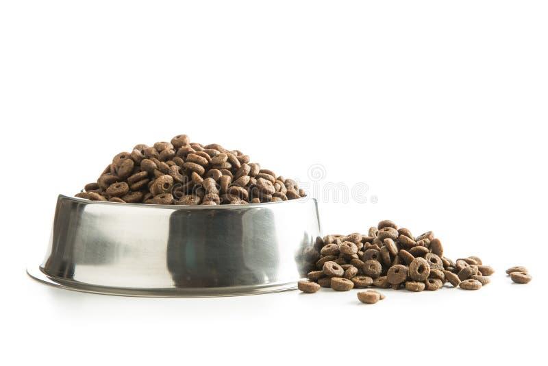 Dog food in metal bowl. stock image