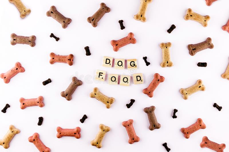 Dog food pattern made with dry snacks in shape of bones. Word dog in wooden tiles. Funny flat lay texture. Home pets stock images