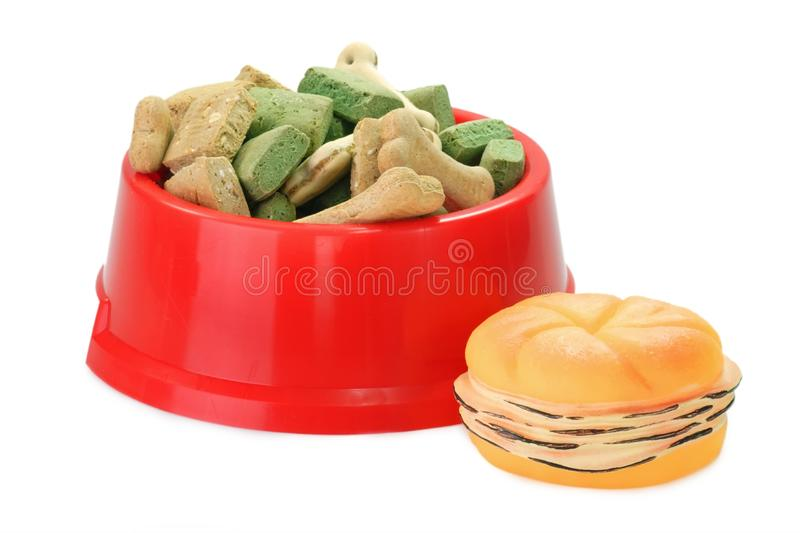 Dog Food with Pet toy royalty free stock image