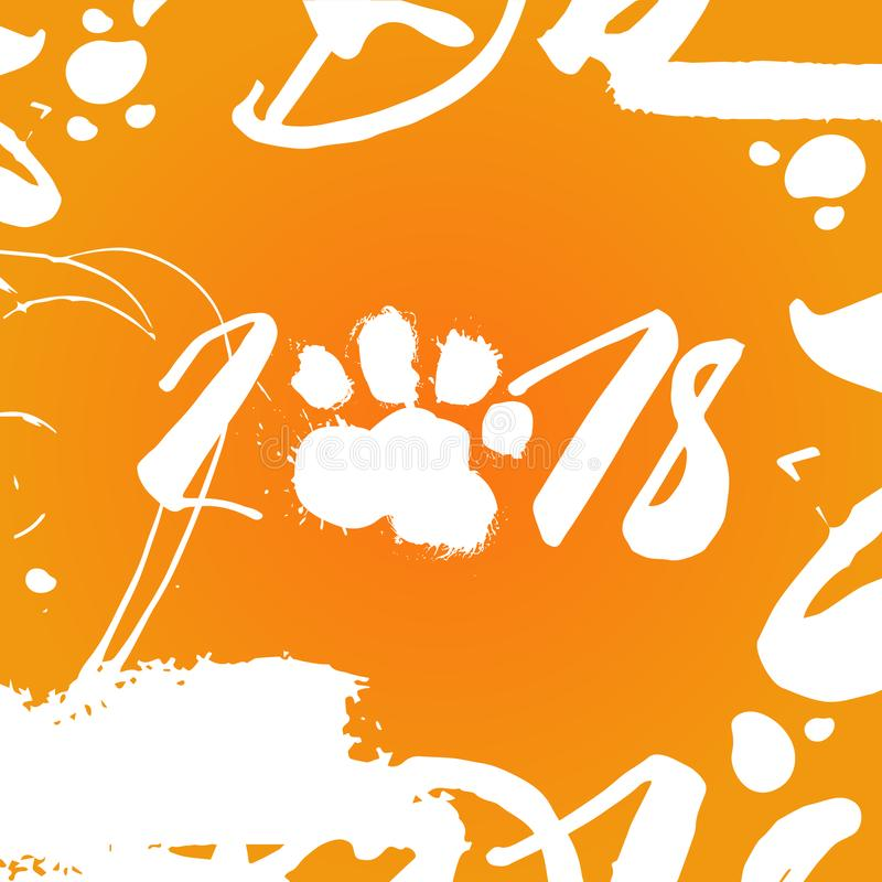 2018 Dog Food Print Over Orange Background Happy New Year Poster