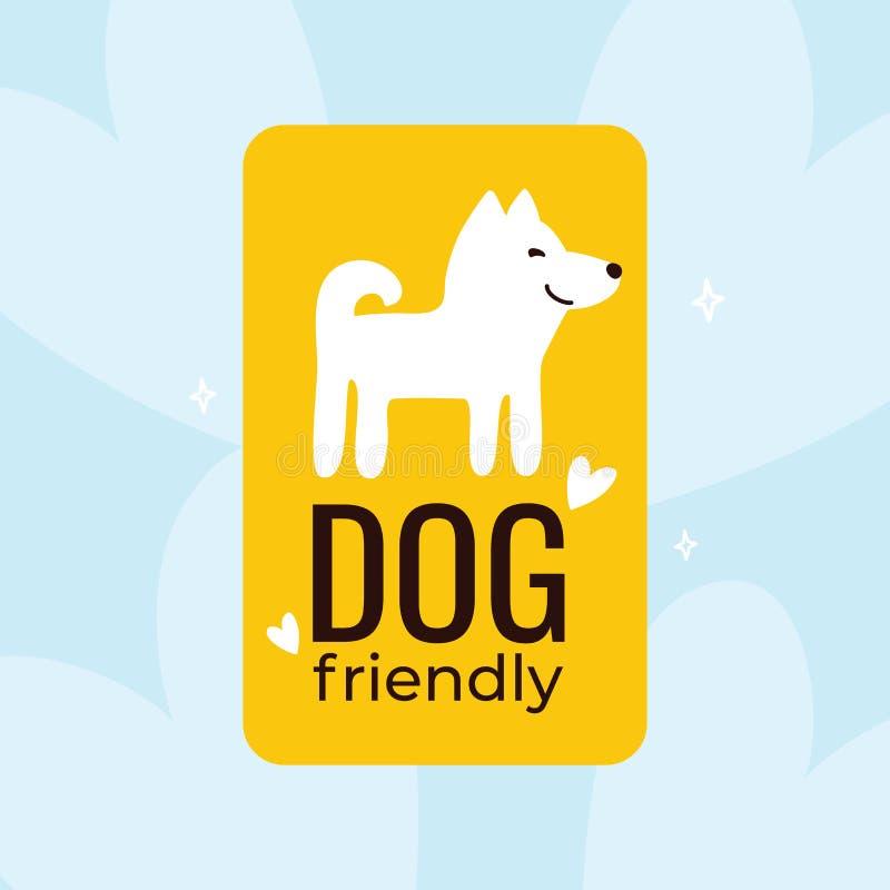 Dog friendly illustration. Yellow logo with a smiling dog royalty free illustration