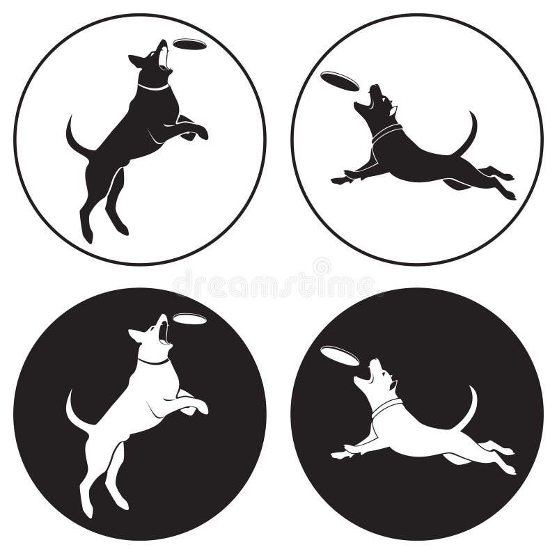 Dog-frisbee stock illustration