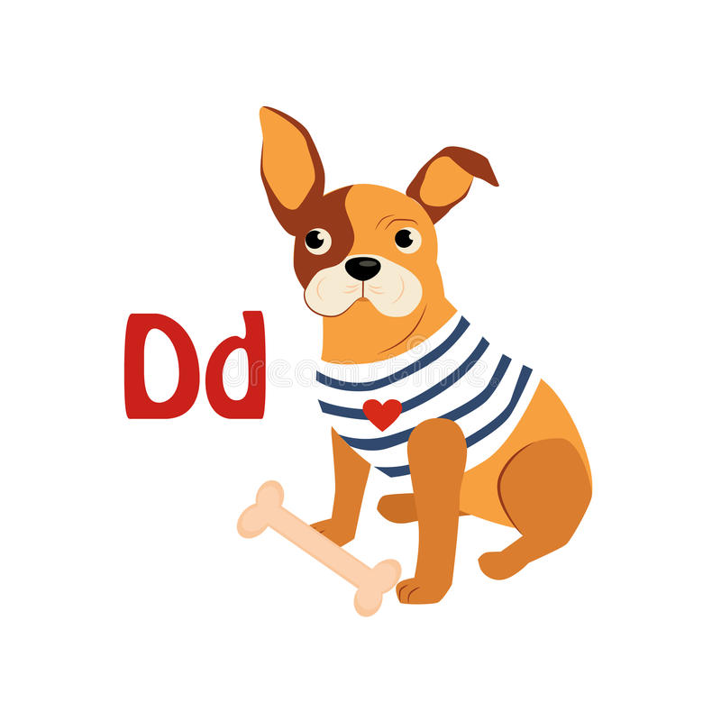 Dog. Funny Alphabet, Animal Vector Illustration. Dog. Funny Alphabet, Colourful Animal Vector Illustration stock illustration