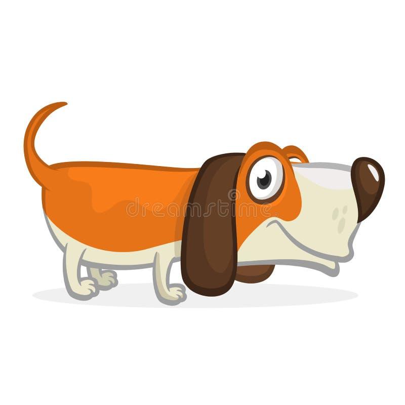 Funny beagle dog cartoon illustration. royalty free illustration