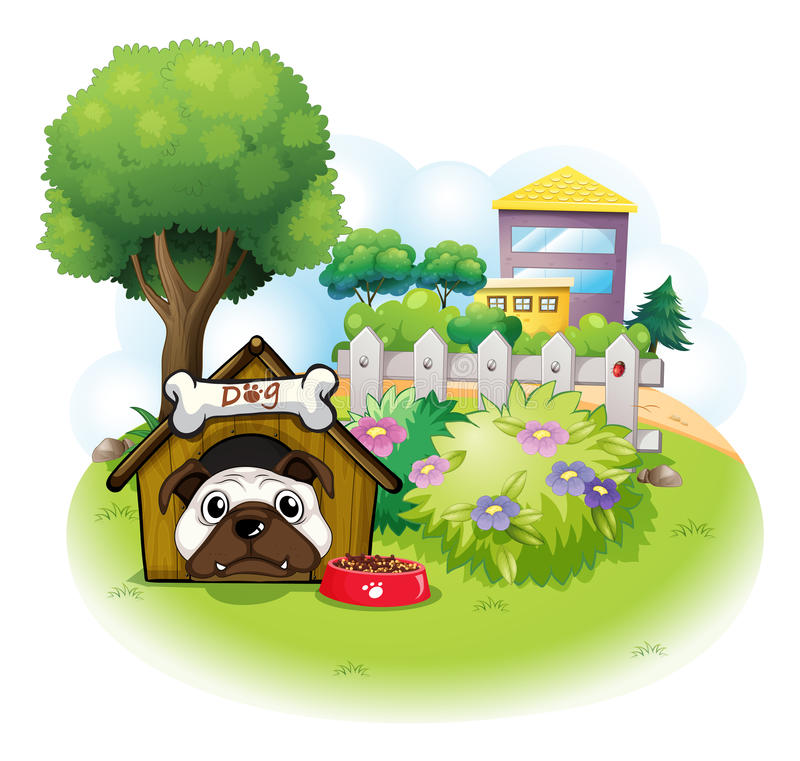 Download A Dog In The Garden Across The High Buildings Stock Image - Image: 32709191