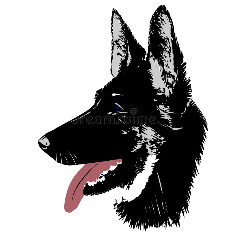 Dog German shepherd logo head for vector Illustration stock illustration