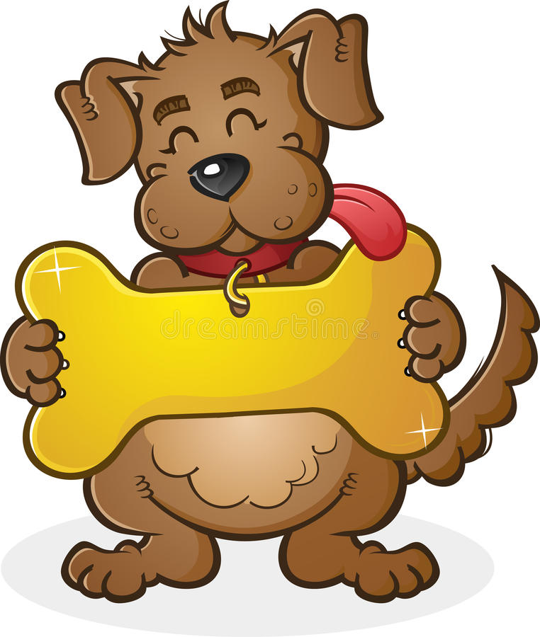 Dog with Giant Collar Tag Sign Cartoon Character stock illustration