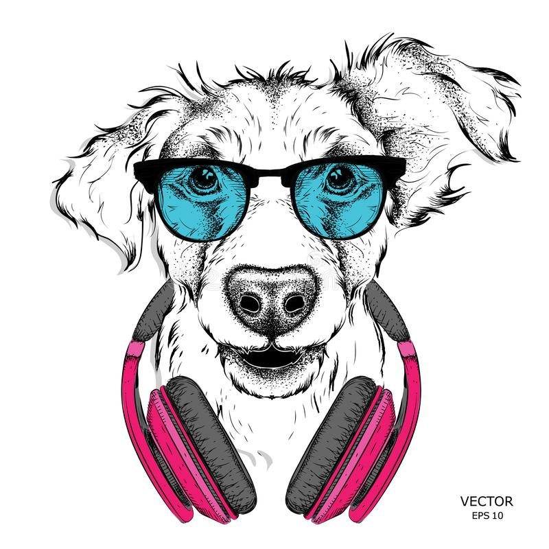 Dog in glasses and headphones. Vector illustration. Dog in glasses and headphones. Vector vector illustration